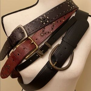 Accessories - Four large leather belts- Loft, Fossil and Express